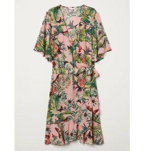 H&M flounce wrap dress pink floral 12